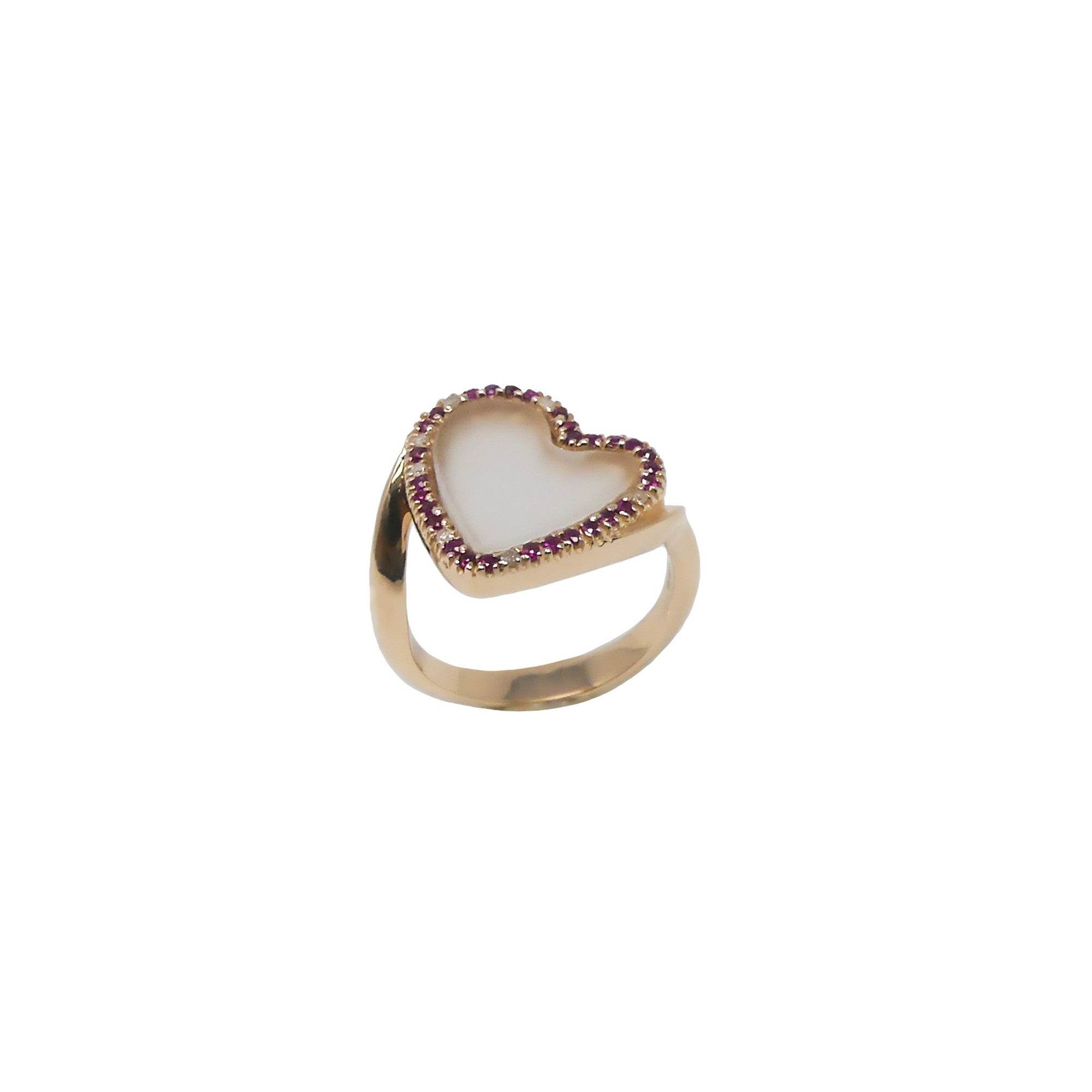 Pria De Ma 14kt Rose Gold Ring Ice Diamonds Rubies