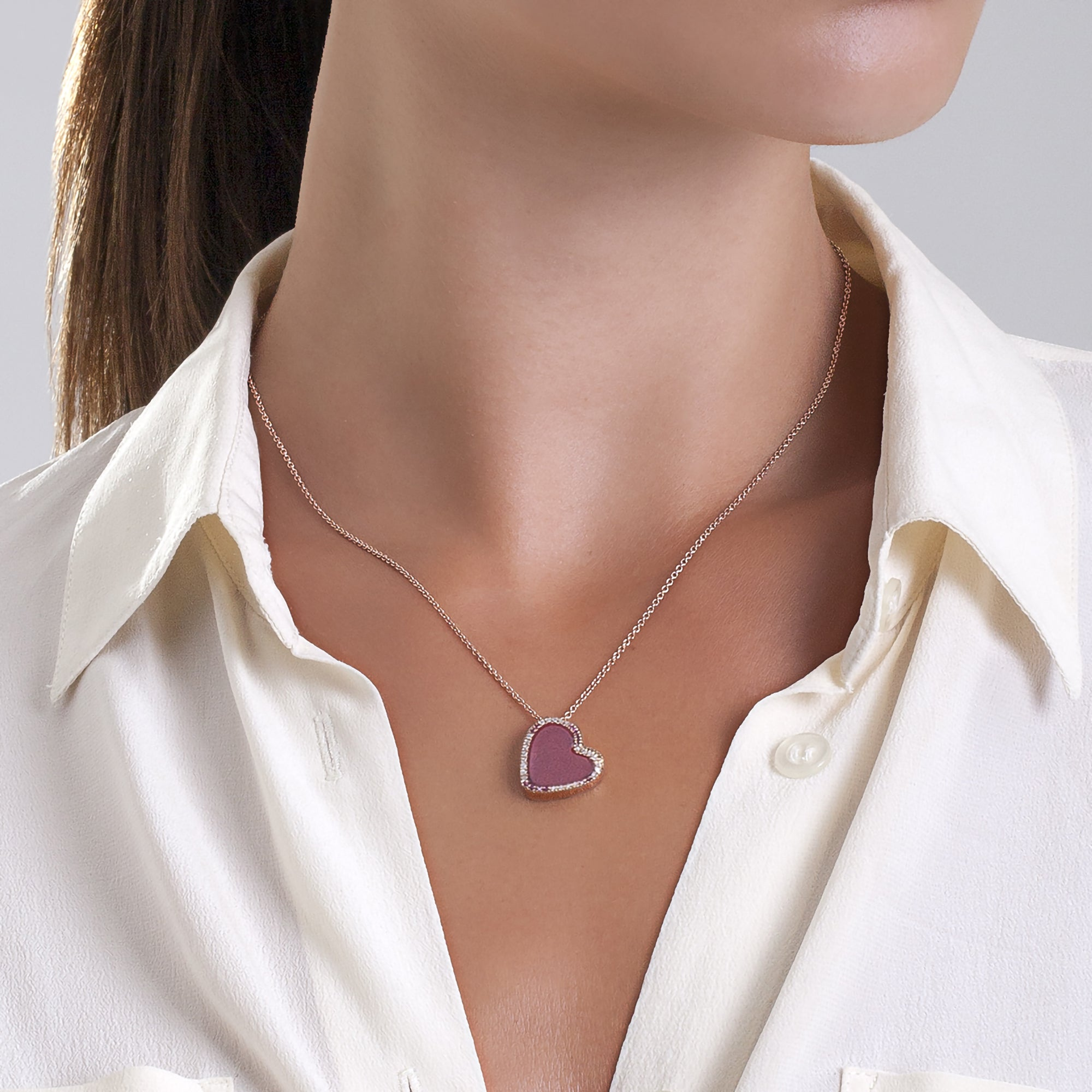 Collana Pria De Ma in oro rosa 9kt con diamanti ice e rubini