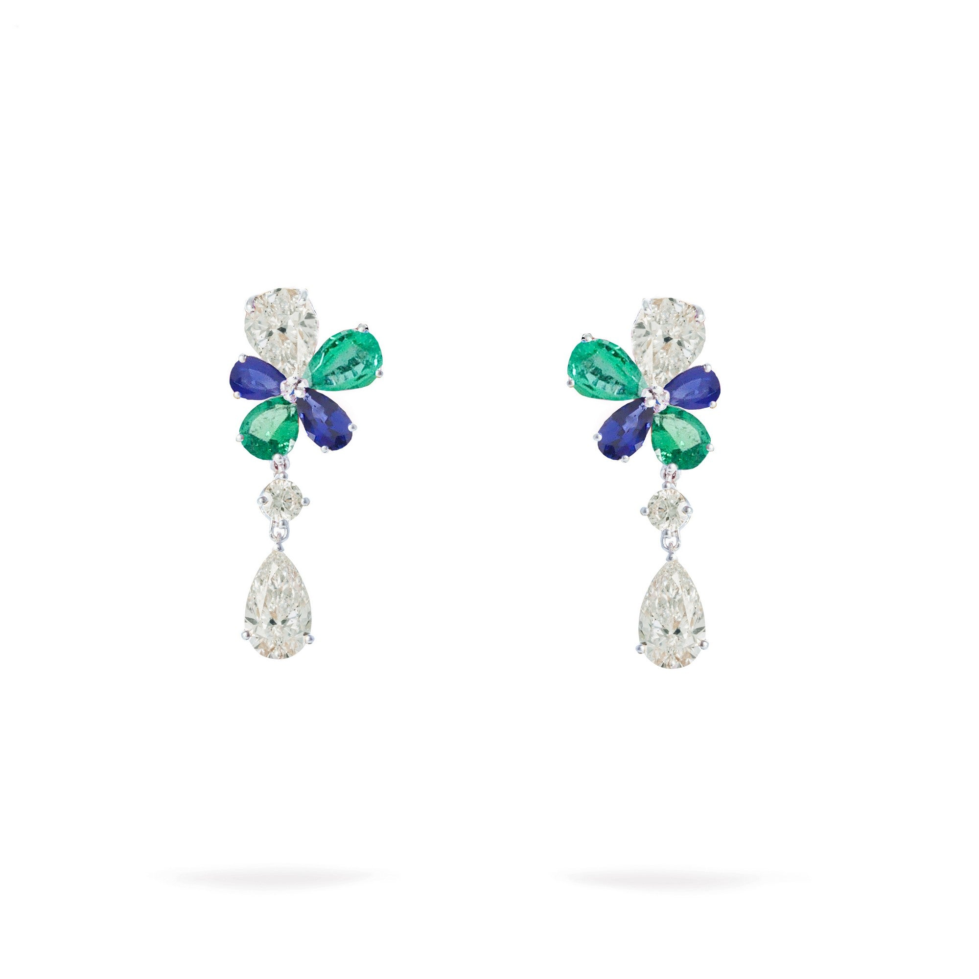 Prato Fiorito White Gold Earrings With Emeralds Sapphires Diamonds