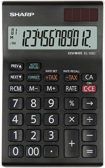 SMD Technologies Desk Calculators Black Sharp EL-128C-WH Calculator - Check and Correct - 12 digit