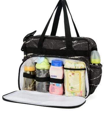 SMD Technologies Nappy Bags Black/White Totes Babe Marmol Diaper Bag
