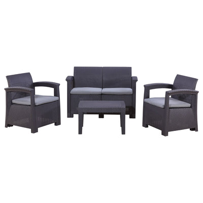 Calasca Patio Lounges Fine Living - Hampton Patio Set - Dark Grey/Beige