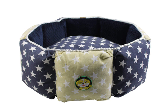 Calasca Pet Accessories Rex-lux Dog Bed-Navy/White stars