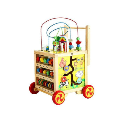 Calasca Toys for Toddlers Wooden Cube Activity Walker