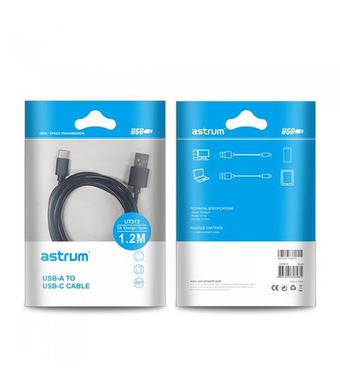 Astrum USB Cables UT312 USB-C 1.2M TYPE A-C MALE BK CABLE