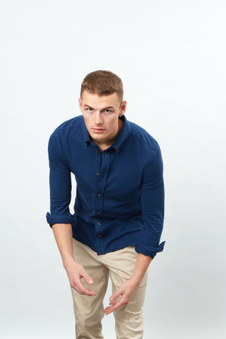 Long Sleeve Pique button front
