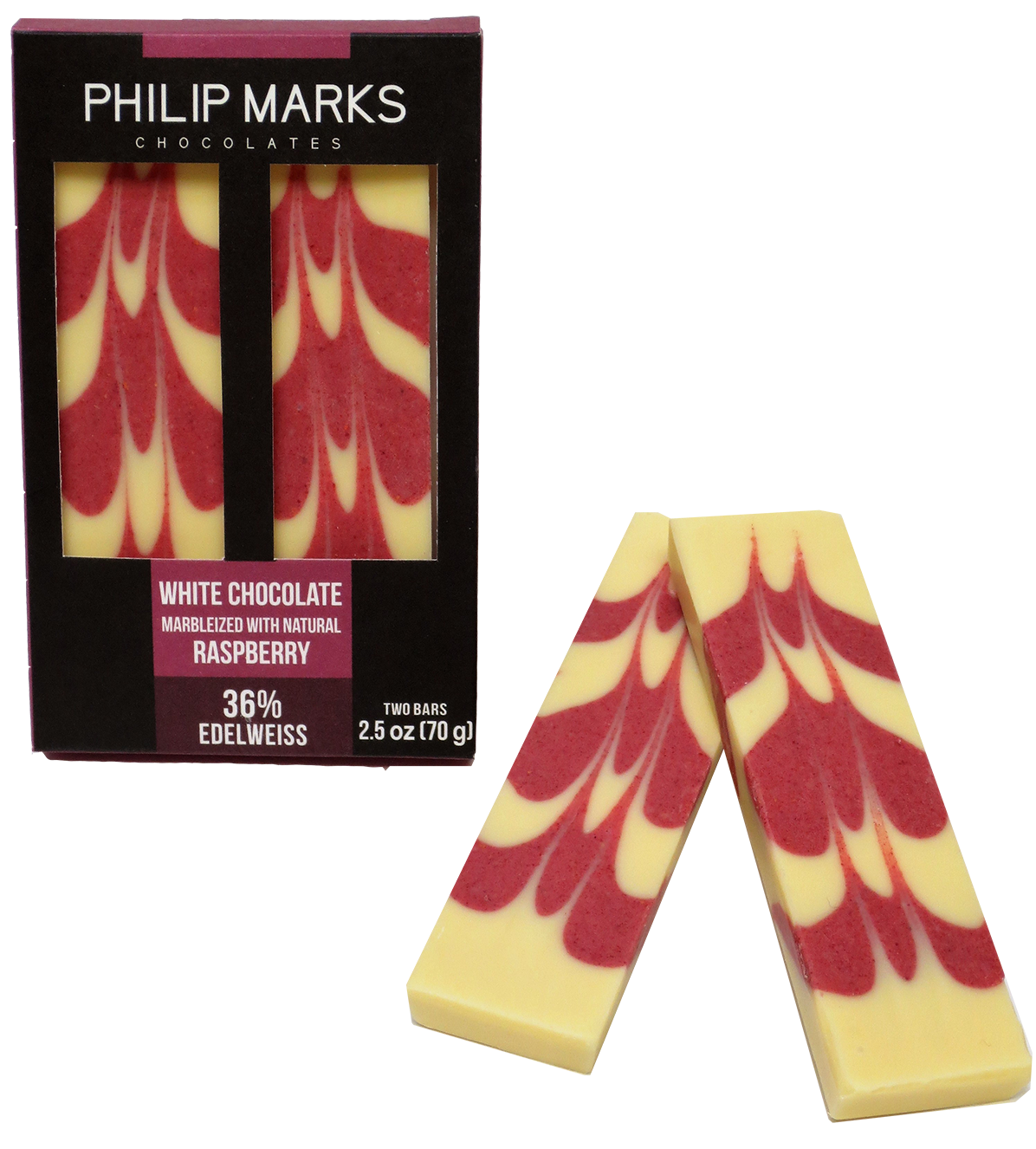 White Chocolate Bar Marbleized - Natural Raspberry