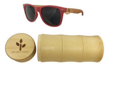 Matte Red Bamboo Sunglasses