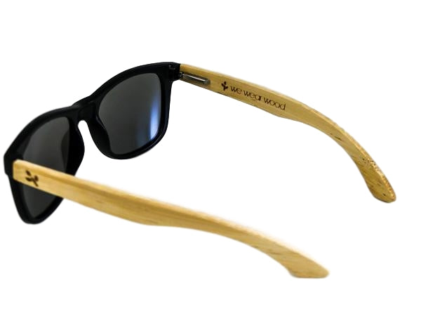 Silver Lens Black Bamboo Sunglasses