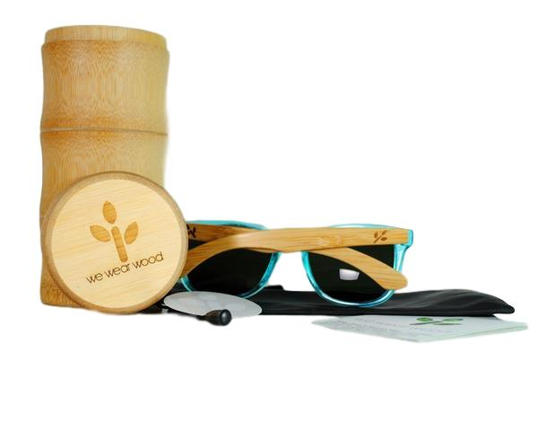 Ocean Blue Bamboo Sunglasses - With Case