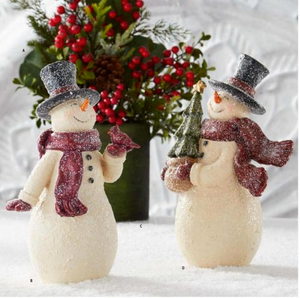 10.5 inch Glittered Vintage Snowman with Christmas Tree