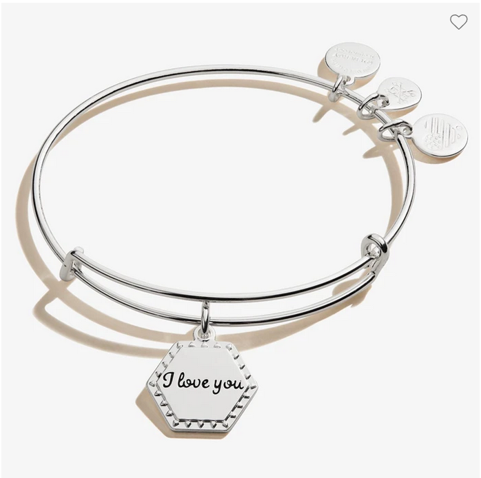 Alex and Ani I Love You Bangle in Silver
