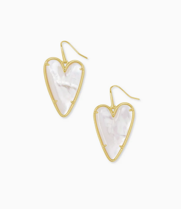 Kendra Scott Ansley Heart Drop Earring Gold - Ivory Mother of Pearl