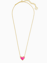 Load image into Gallery viewer, Kendra Scott Ari Heart Gold Necklace - Magenta