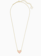Load image into Gallery viewer, Kendra Scott Ari Heart Gold Necklace - Rose Quartz