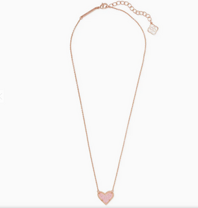 Kendra Scott Ari Heart Rose Gold Necklace in Pink Drusy