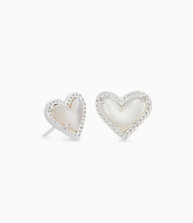 Kendra Scott Ari Heart Silver Stud in Ivory Mother of Pearl