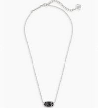 Load image into Gallery viewer, Kendra Scott Elisa Necklace Silver with Black Opaque Glass