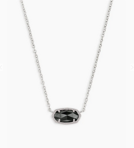 Kendra Scott Elisa Necklace Silver with Black Opaque Glass