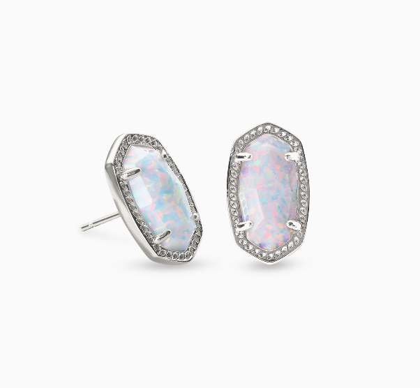 Kendra Scott Ellie Silver Earrings - White Opal