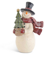 Load image into Gallery viewer, 10.5 inch Glittered Vintage Snowman with Christmas Tree