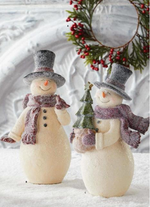 8.5 Inch Glittered Vintage Snowman with Cardinal