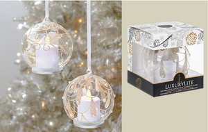 Gold Glass LED Giltter Ornament with Pearls
