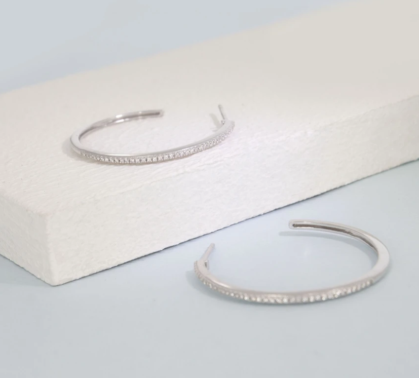 Head Turning Medium Diamond Hoops