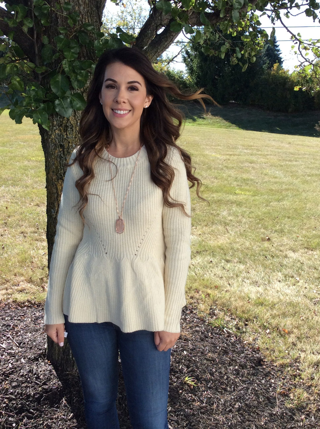 Creme Fit and Flare Sweater, Jr sizing