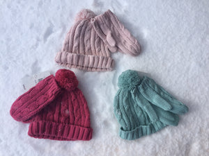Cable Knit Girls Hat and Glove Set