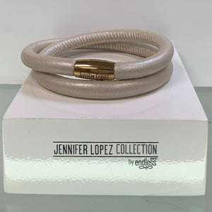 Jennifer Lopez Collection Creme Metallic Leather Bracelet