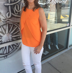 Orange Layered Sleeveless Top--last one size Small