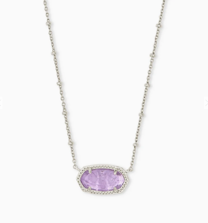 Kendra Scott Silver Elisa Necklace with Satellite Chain - Amethyst