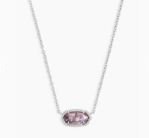Kendra Scott Elisa Purple Amethyst Necklace in Silver