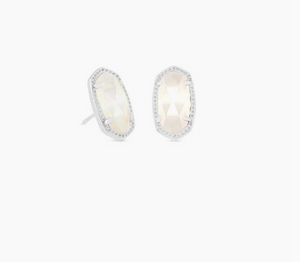 Kendra Scott Silver Ellie Stud in Ivory Mother of Pearl