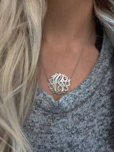 Sterling Silver Monogram Necklace 27MM