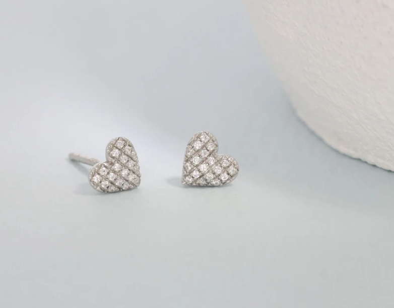 Mini Heart Diamond Earrings