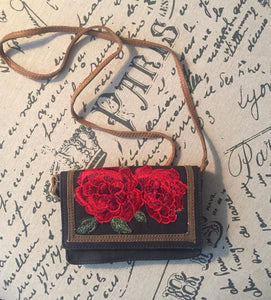 Embroidered Roses Canvas Cross Body Bag 50% off!