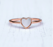 Load image into Gallery viewer, Pura Vida Heart of Pearl Ring in Silver and Rose Gold