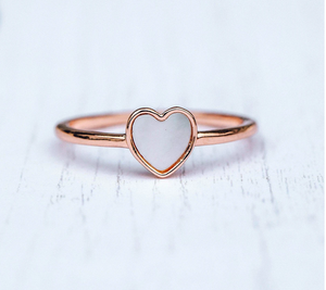Pura Vida Heart of Pearl Ring in Silver and Rose Gold