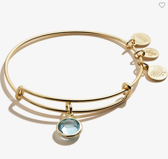 Alex and Ani March Aquamarine Birthstone Bracelet Gold