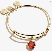 Load image into Gallery viewer, Alex and Ani January Scarlet Birthstone Bracelet Gold