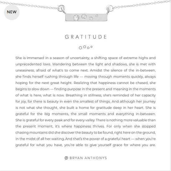 Bryan Anthonys Gratitude Necklace
