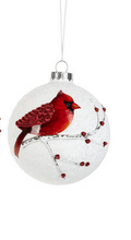 Load image into Gallery viewer, Cardinal Ball Ornament with Berries