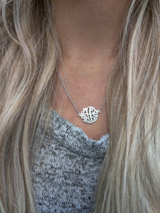 Sterling Silver Monogram Necklace 15mm