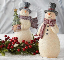 Load image into Gallery viewer, 8.5 Inch Glittered Vintage Snowman with Cardinal