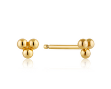 Load image into Gallery viewer, Sterling Gold Triple Ball Earrings