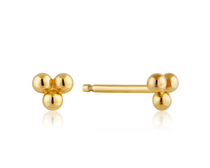 Sterling Gold Triple Ball Earrings