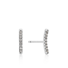 Load image into Gallery viewer, Sterling Silver Shimmer Pave Bar Studs
