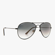 Load image into Gallery viewer, DIFF Sunglasses Black Frame, Gray Aviators